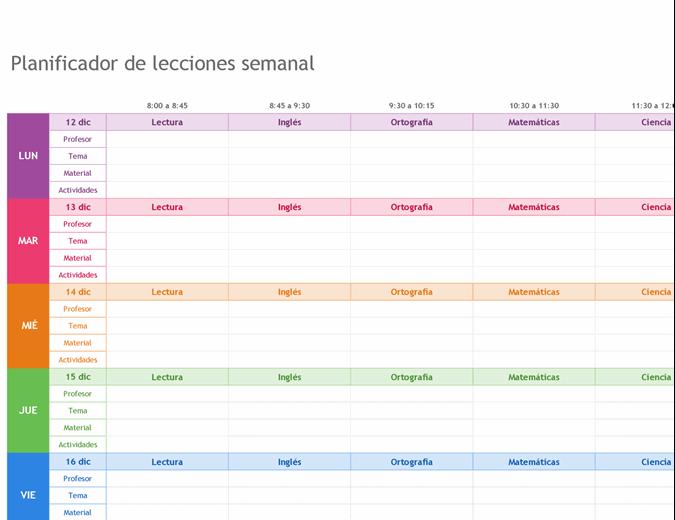 Planificador de lecciones semanal