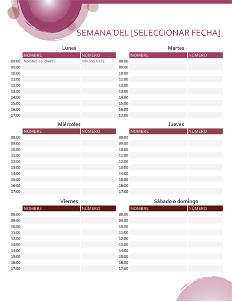 Calendario de citas de conjunto rosa