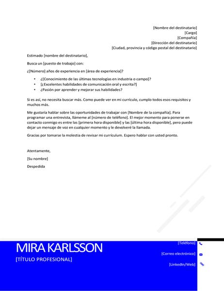 Carta de presentación moderna invertida