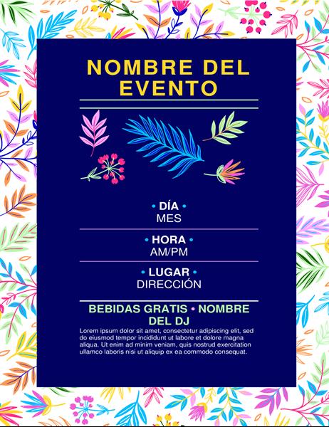 Folleto para eventos, diseño brillante de flores