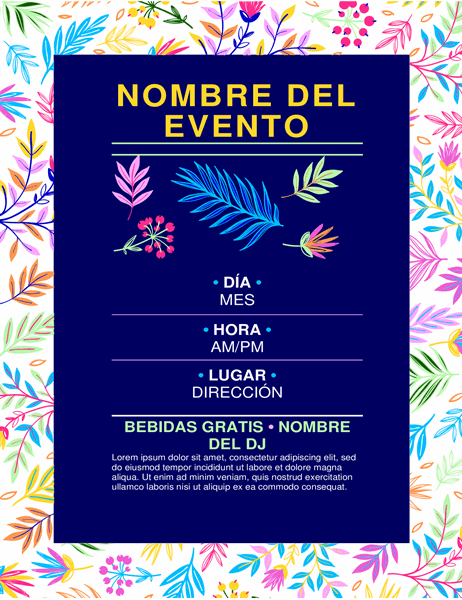 Folleto para evento con diseño de flores brillantes