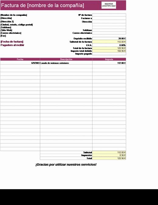 Factura de servicios con deducción de depósito2