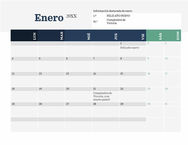 Calendario moderno con información resaltada