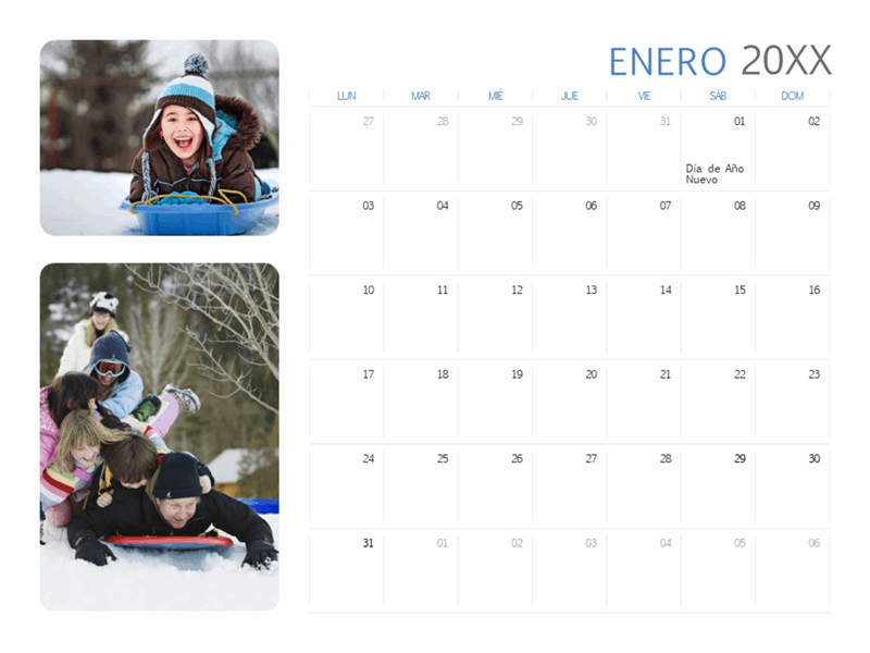 Calendario de fotos anual (de lunes a domingo)