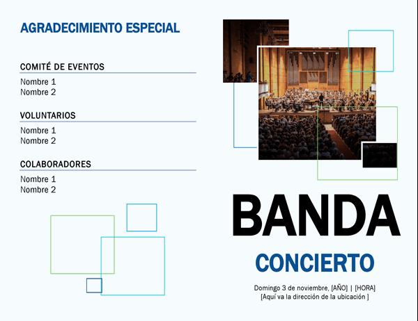 Programa de conciertos de bandas