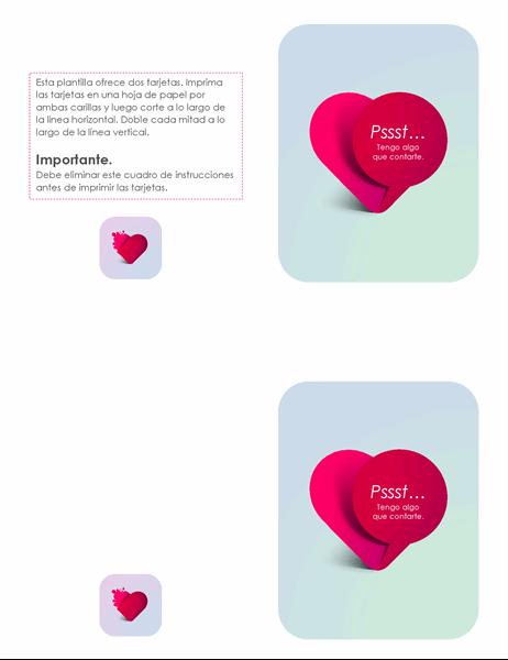 Tarjeta de San Valentín de admirador secreto