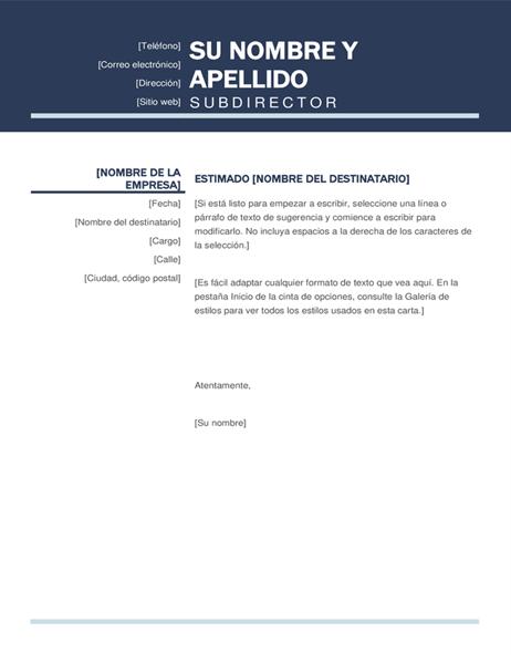 Carta de presentación moderna y organizada