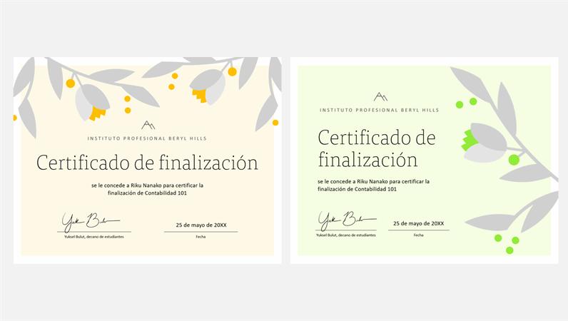Certificado de finalización con ramas floreciendo