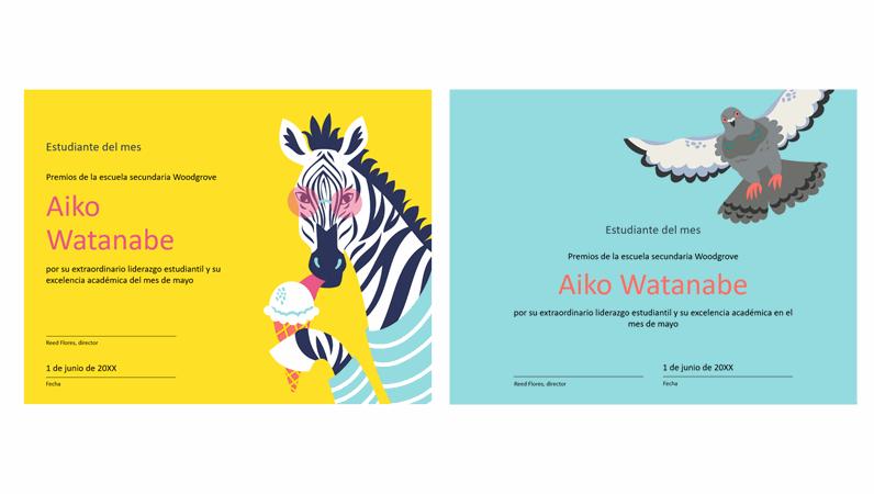 Certificado estudiantil de animales de colores