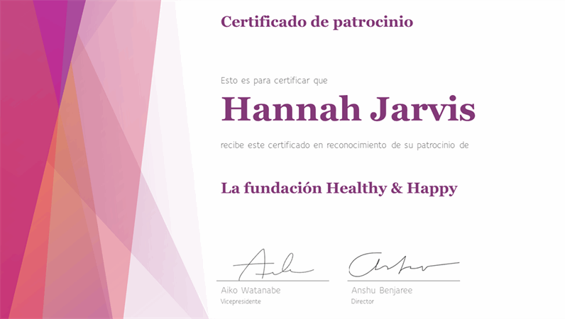 Certificado de reconocimiento colorido