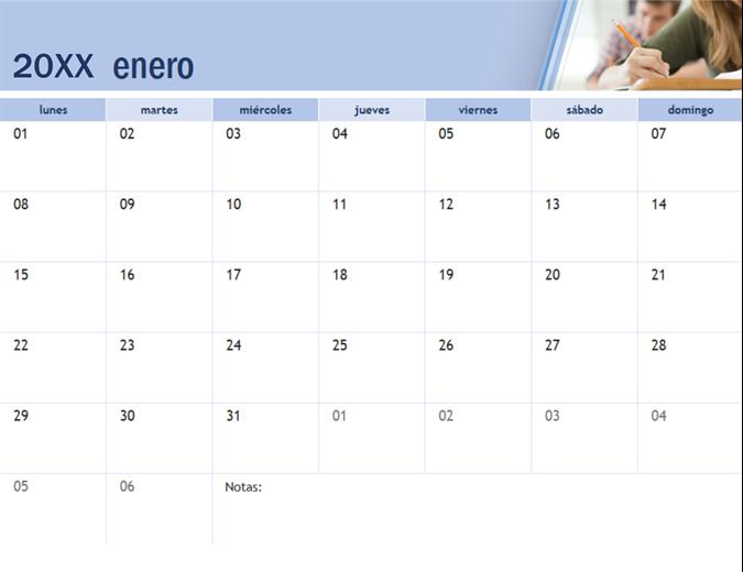 Calendario académico con fotos
