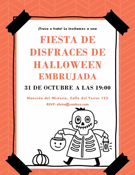 Invitación de esqueleto de Halloween