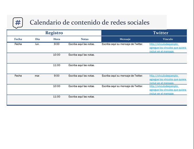Calendario de contenido de redes sociales