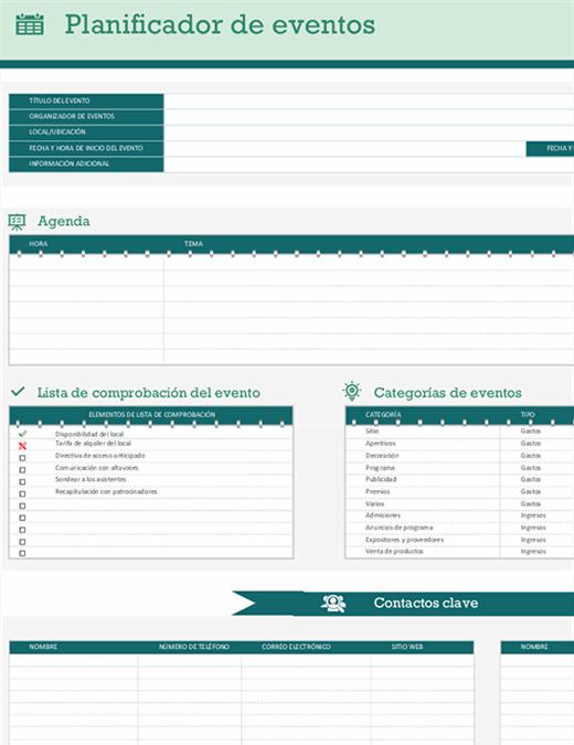 Planificador de eventos y escala de tiempo