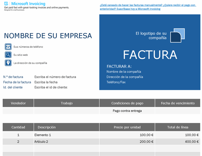 Factura de pedido con Microsoft Invoicing