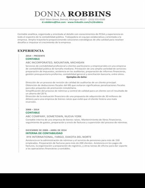 Currículum vítae de contabilidad