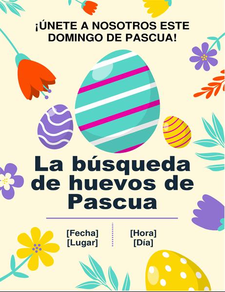 Prospecto sobre la recolecta de huevos de Pascua con colores primaverales