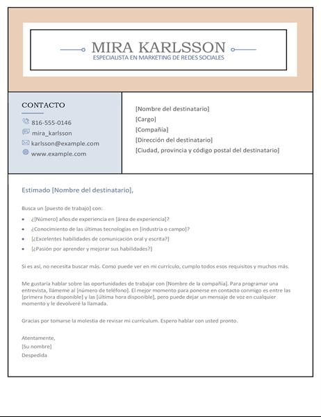 Carta de presentación con columnas