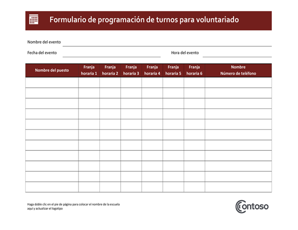 Programación de turnos de voluntariado