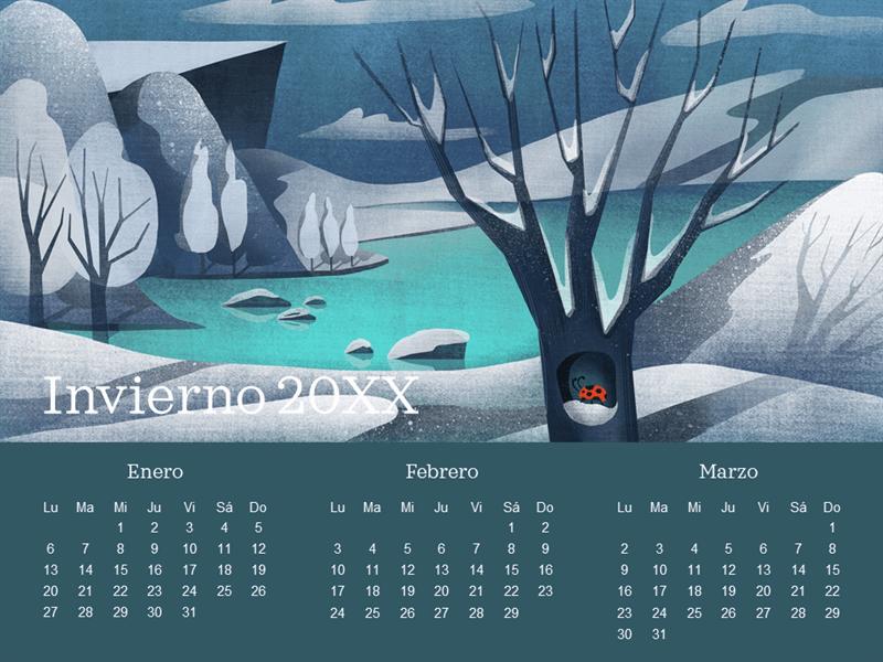Calendario trimestral con motivo de mariquita