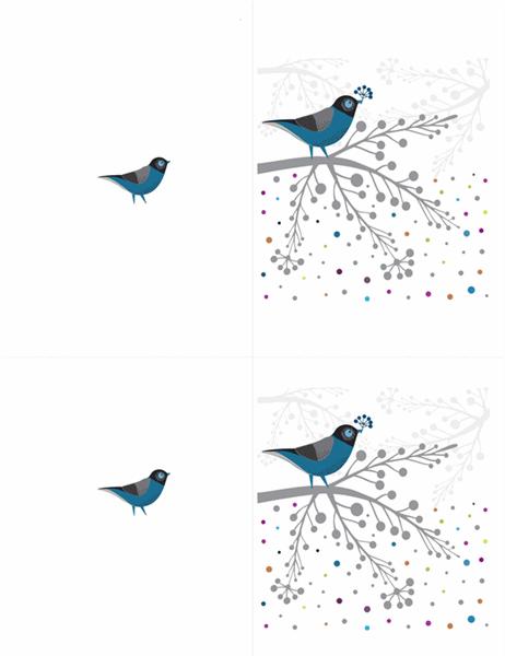 Tarjeta con pájaros y bayas