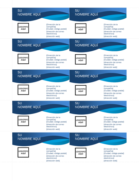 Tarjeta de presentación con curva azul