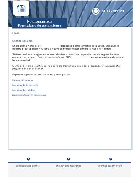 Carta de tratamiento sanitario no programado