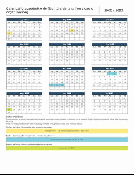 Calendario académico anual