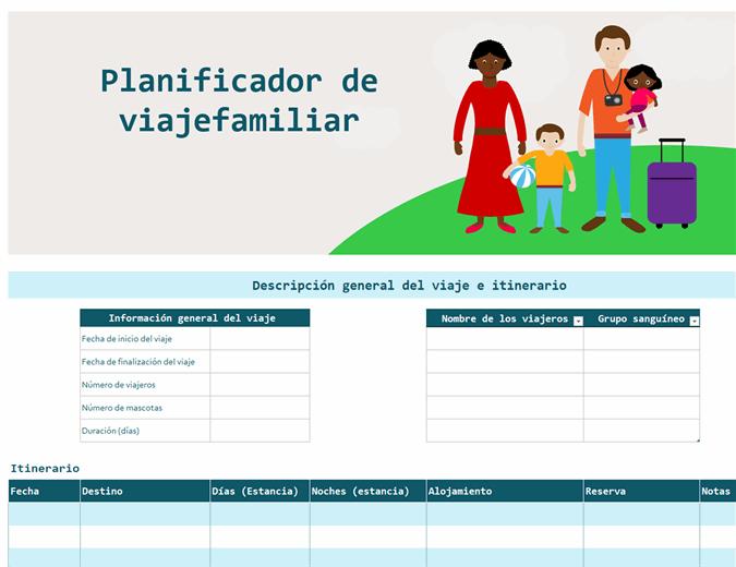 Itinerario de viaje familiar