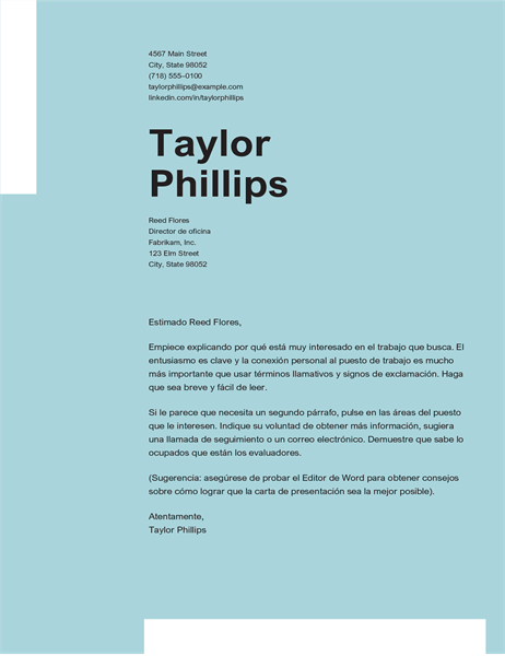 Carta de presentación elegante sencilla