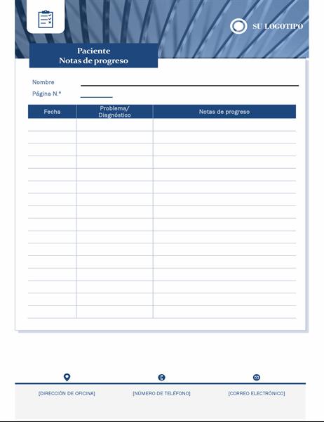 Notas de progreso del paciente de sanidad