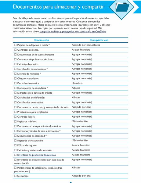 Lista de comprobación de documentos para almacenar y compartir