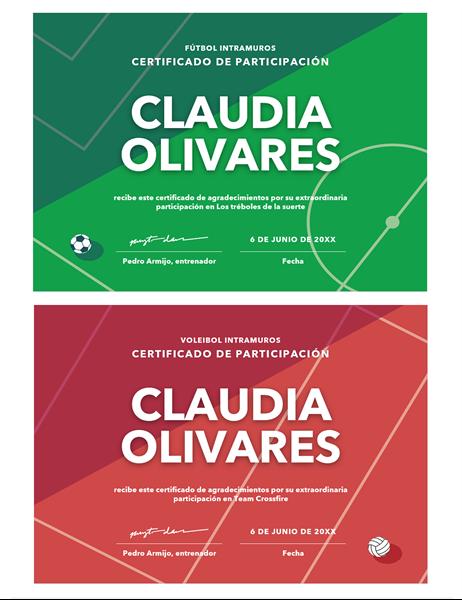 Certificado de premios con cuatro deportes