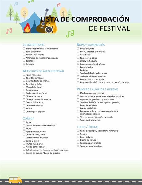 Lista de comprobación de festival