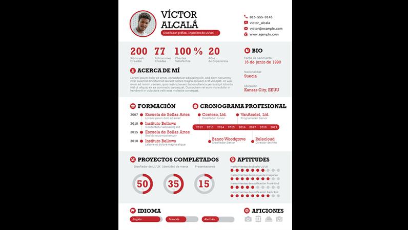 Currículum infográfico en negrita
