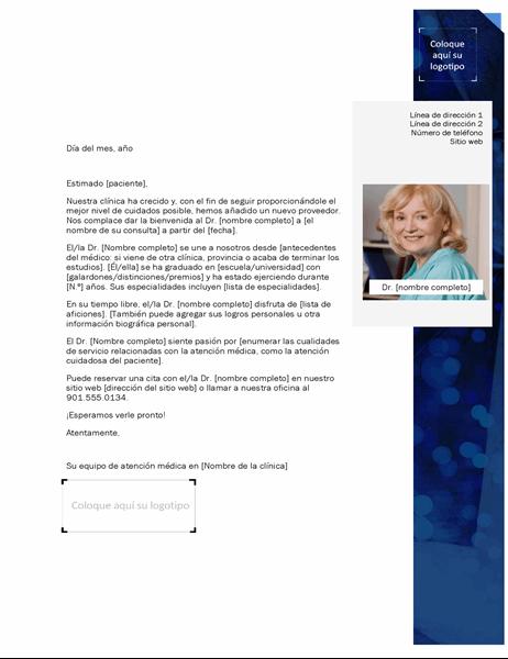 Carta de presentación del proveedor médico