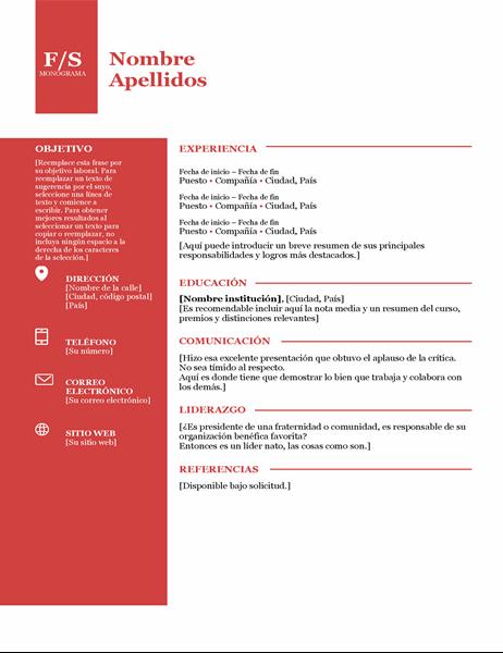 Currículum con monograma en negrita