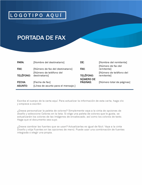 Portada de fax con curva azul