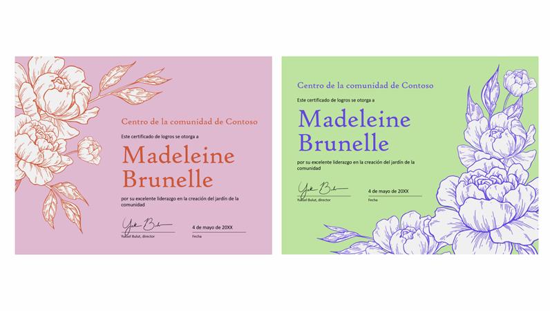 Certificado de logros cumplido floral