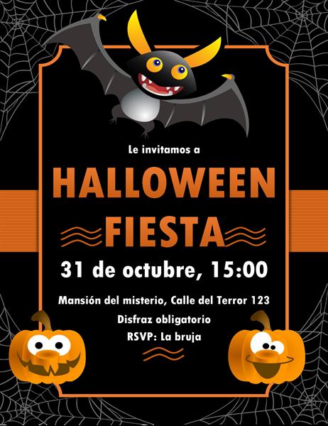 Invitación de Halloween con murciélago