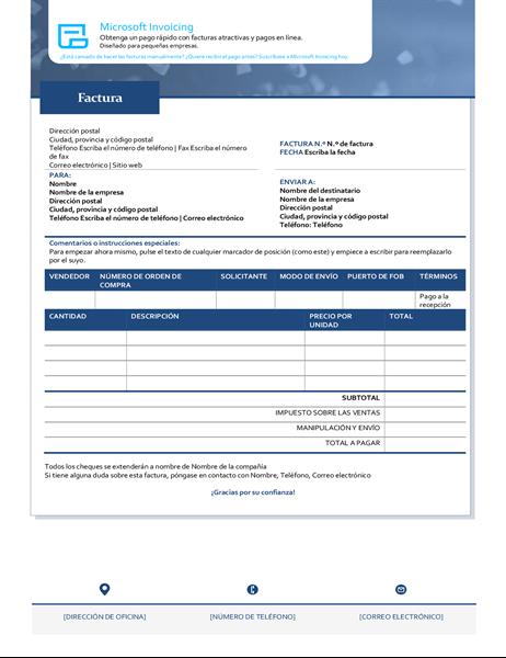 Factura con Microsoft Invoicing