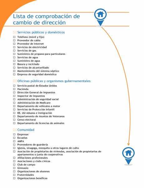 Lista de comprobación de cambio de dirección