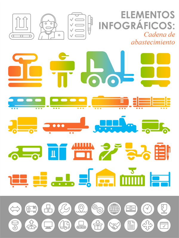 Imágenes infográficas de la cadena de suministro