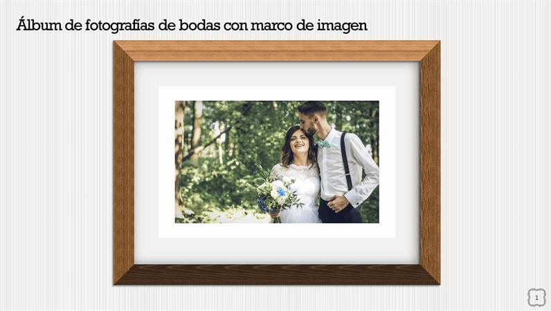 Álbum de fotografías de bodas con marco de imagen