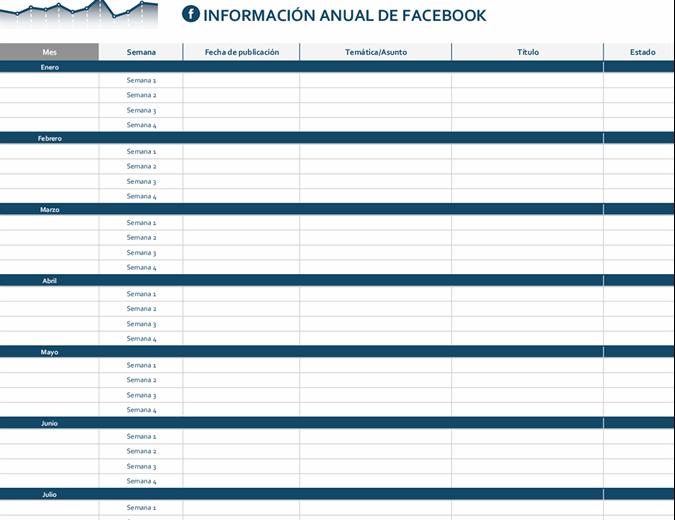 Calendario editorial de la plataforma de redes sociales
