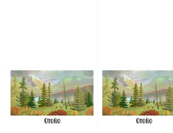 Tarjetas de felicitación de escenas de la naturaleza (un cuarto de página)