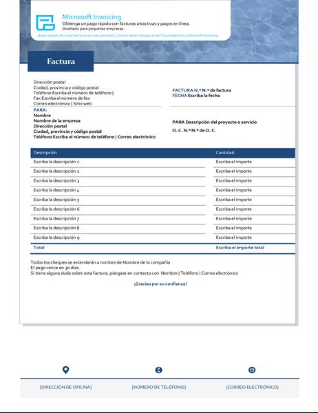 Factura de servicio con Microsoft Invoicing