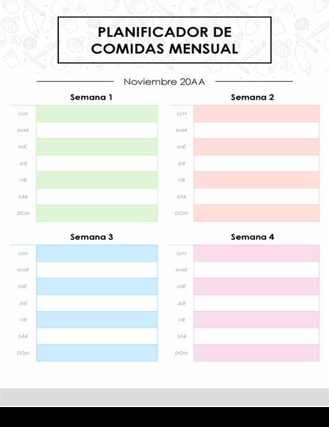 Planificador de menú mensual