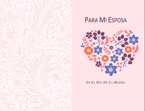 Tarjeta del día de la madre de corazón floral