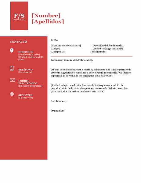 Carta de presentación con monograma en negrita
